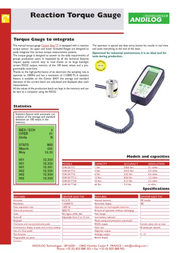Centor W Easy TT, torque gauge with reaction sensor