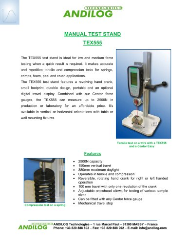 Manual test stand TEX555