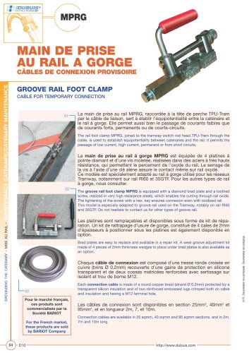 MPRG - Groove rail foot clamp - Cables for temporarry connexion