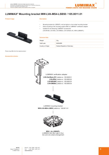 LUMIMAX mounting bracket for MS4-LSB50