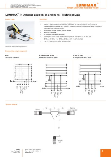 LUMIMAX T1-Adapter cable IS 5x and IS 7x