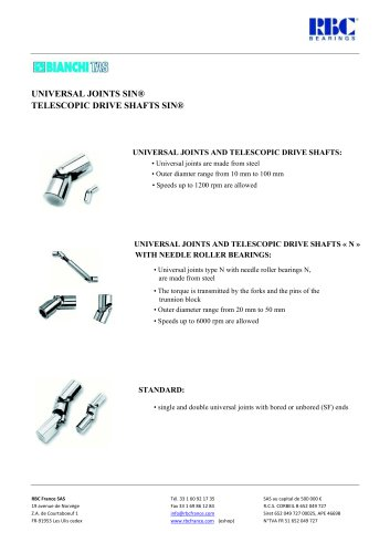 Single and double universal joints and cardan shafts
