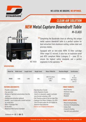 Metal Capture Downdraft Table - M Class - 70520