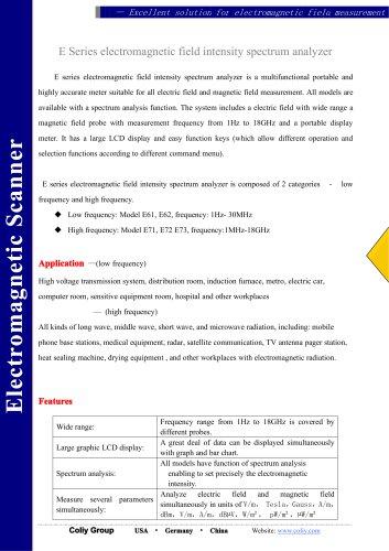 E Series electromagnetic field intensity spectrum analyzer
