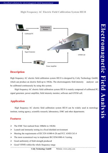 High Frequency AC Electric Field Calibration System HE18