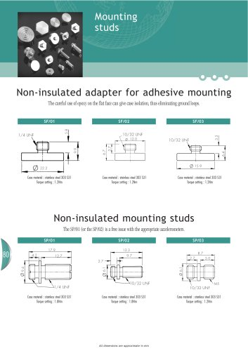 Accelerometer mounting studs