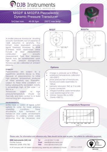 M/02/F & M/02/FA Piezoelectric Dynamic Pressure Transducer