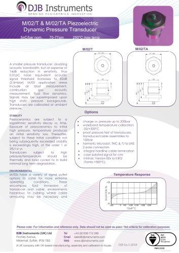M/02/T & M/02/TA Piezoelectric Dynamic Pressure Transducer
