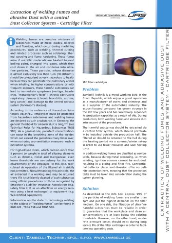 Extraction of Welding Fumes and abrasive Dust with a central Dust Collector System - Cartridge Filter