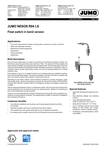 JUMO NESOS R04 LS - Float switch in curved version