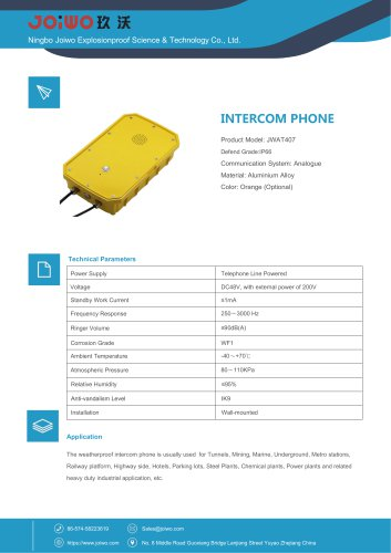 Joiwo Waterproof Intercom Telephone