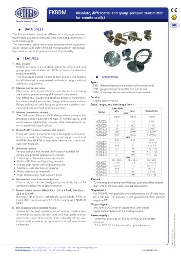 FKBDM - Absolute, differential and gauge pressure transmitter for remote seal(s)