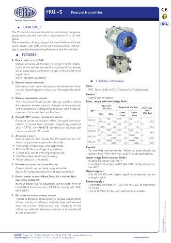 FKG - Pressure transmitter