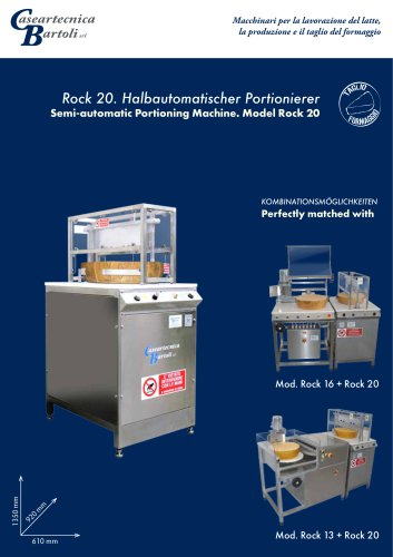 Semi-automatic Portioning Machine. Model Rock 20