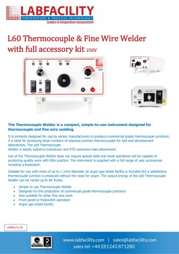 L60 Thermocouple & Fine Wire Welder with full accessory kit