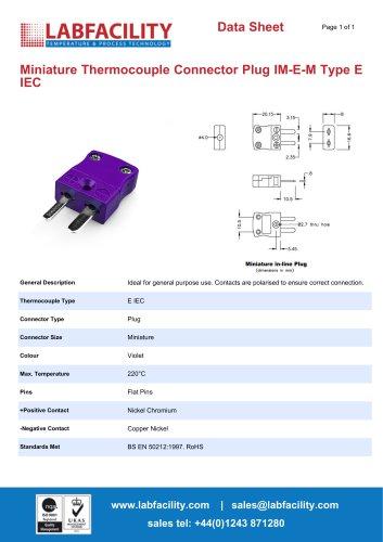 Miniature Thermocouple Connector Plug IM-E-M Type E IEC