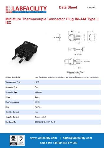 Miniature Thermocouple Connector Plug IM-J-M Type J IEC