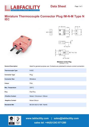 Miniature Thermocouple Connector Plug IM-N-M Type N IEC