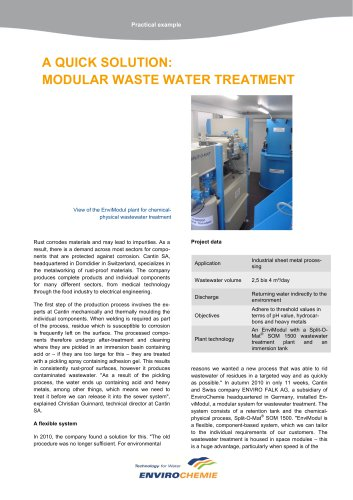 A QUICK SOLUTION: MODULAR WASTE WATER TREATMENT
