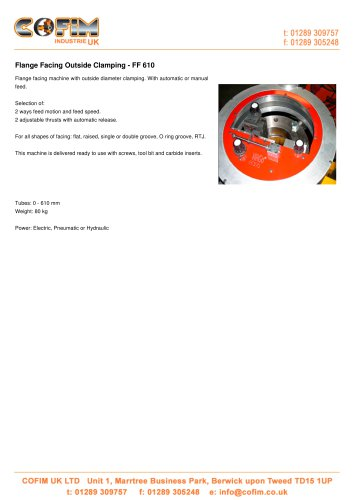 FF 610 Flange Facing Outside Clamping