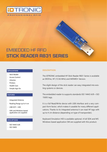 RFID Embedded Modules   HF Stick Reader R831 Series