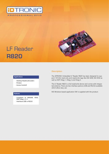 RFID Embedded Modules   LF Reader R820