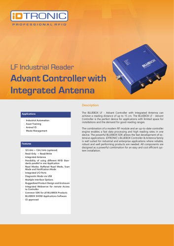 RFID Industrial Readers   BLUEBOX Advant Controller with integrated Antenna