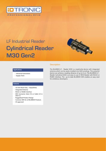 RFID Industrial Readers   BLUEBOX Cylindrical M30 Gen2
