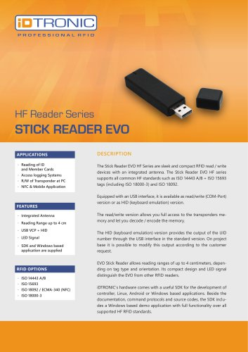 RFID Readers   Stick Reader EVO HF Series