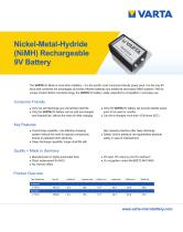 Nickel-Metal-Hydride (NiMH) Rechargeable 9V Battery