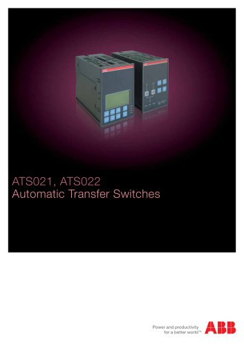 ATS021, ATS022 Automatic Transfer Switches
