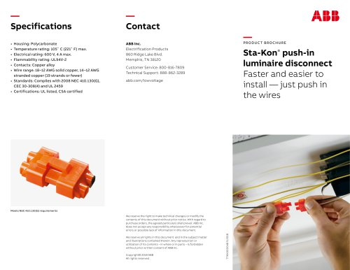 Sta-Kon Push-in Luminaire Disconnect brochure US