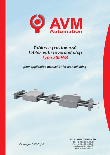 Table with reversed step Type 309R/S