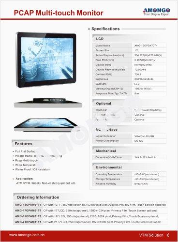 15inch PCAP Multi-touch monitor for ATM/VTM/Kiosk/non-cash equipment etc