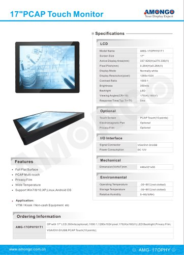 17inch open frame PCAP Multi touch screen LCD Monitor(AMG-17OPHY01T1)