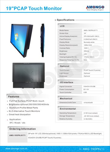 19inches open frame PCAP touch screen industrial lcd monitor(AMG-19OPKJ01T1)
