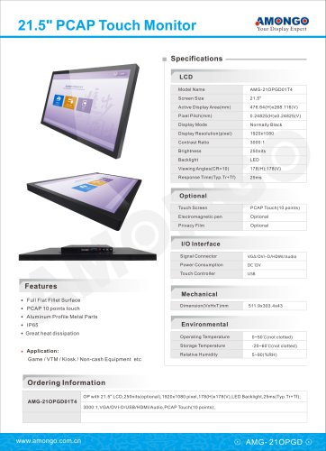 """21.5"""" PCAP Multi touch industrial lcd monitor for AFC(AMG-21OPGD01T4)"""