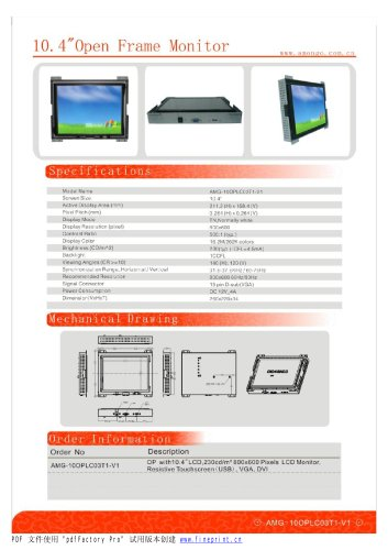 Amongo 10.4'' Open frame touch screen industrial LCD Monitor/LCD display/ industrial lcd monitor