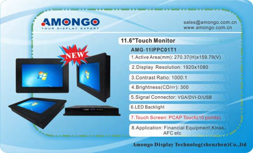 Amongo 11.6inch industrial PCAP Touch Screen LCD monitor(AMG-11IPPC01T1)