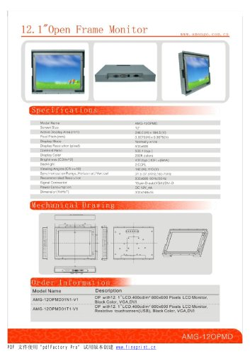 Amongo 12'' Open frame touch screen industrial LCD Monitor/LCD display/ industrial lcd monitor