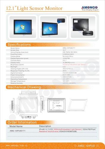 "AMONGO 12.1"" light sensor industrial monitor, 1000nits(AMG-12IPUS01T1)"