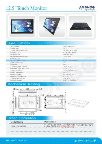 "Amongo 12.5"" 1920 x 1080 pixel HD PCT Toouchscreen(AMG-12IPDX02T1)"