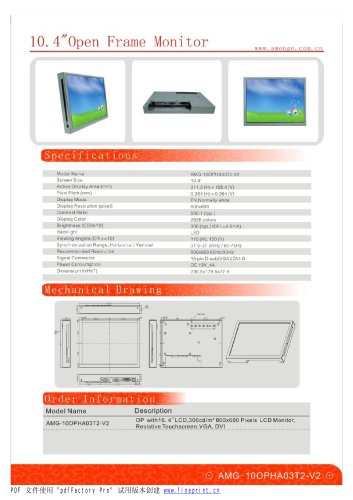 Amongo 15'' Open frame LCD Monitor with IR,SAW touchscreen panel/AMG-10opha01