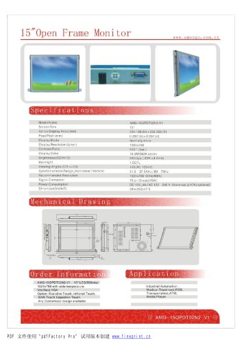 Amongo 15'' Open frame touch screen industriaonitor/AMG-15O PDT 02N2