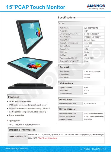 """Amongo 15.6"""" PCAP Touch Screen Monitor, Surface hardness MoHS 7"""