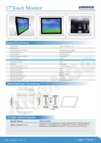 """AMONGO 17"""" PCT Touch(10 Points) 1280x1024 Pixels 1000:1(Touch Monitor)AMG-17IPIN01T1-V1"""