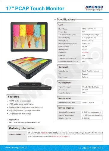Amongo 17inch UV High Brightness PCAP Multi Tocuh screen LCD Monitor(AMG-17IPTP01T3)