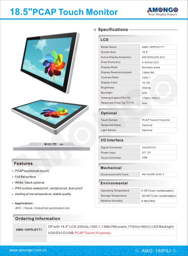 Amongo 18.5inch PCAP Touchscreen lcd monitor with IP65 waterprof, vandal-proof, dust-proof