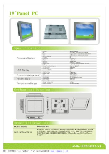 Amongo 19'' Fanless touch screen industrial panel pc