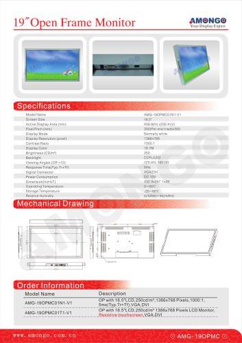 AMONGO 19inch 1366x768 Pixels 250cd/?(Open Frame Monitor)AMG-19OPMC01N1-V1